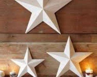 Set Of 3 Metal Tin Barn Star Wall Decor 16 11 By Littlebarnco