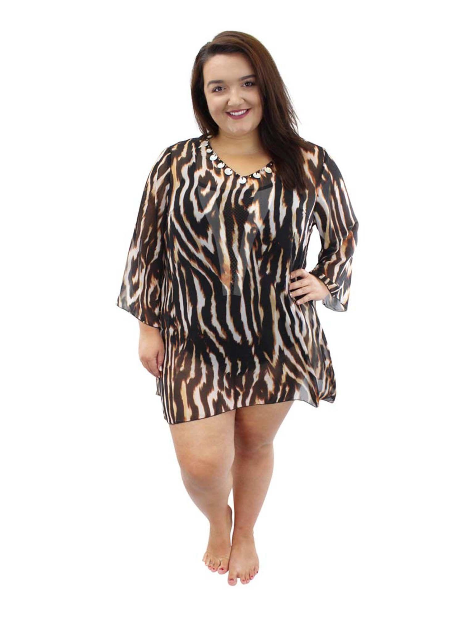 81ff8d670bfea Brown Plus Size Animal Print Sheer Swimwear Cover Up   Swimwear ...
