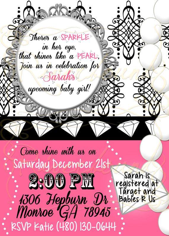 Diamond and Pearl Baby Shower Invitation   Baby Girl Elegant Fancy Shower  Invitation Printable 66ebd755b9