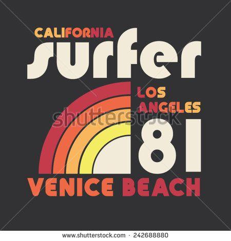 California sport surf typography, t-shirt graphics, vectors - stock vector