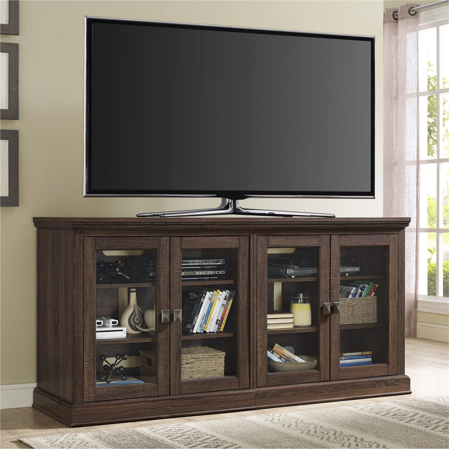 Ameriwood Home Bennett Tv Console With Glass Doors 1784196pcom Tv Stand With Glass Doors Altra Furniture Entertainment Center
