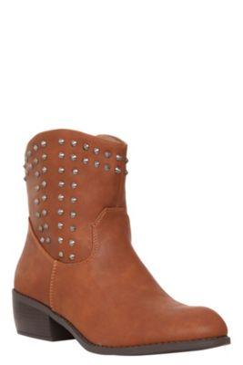 Tazanna Cognac Studded Booties (Wide Width)