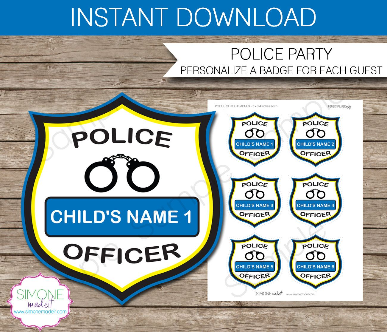 Police Officer Badges - Police Birthday Party - INSTANT DOWNLOAD and EDITABLE template - type your own text in Adobe Reader by SIMONEmadeit on Etsy