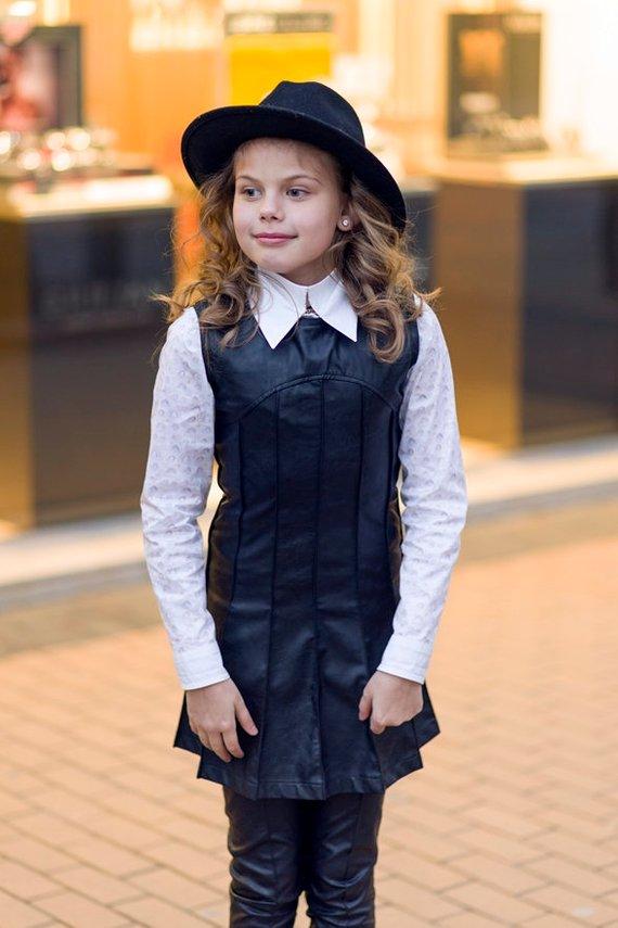 a1291714d405 Faux leather sleeveless dress Toddler girls midi dress Black kids ...