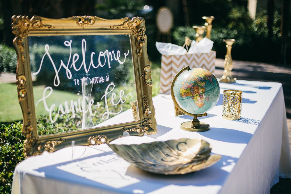 Wedding welcome and globe guestbook  | Palm Springs Wedding | Lovelyfest Event Design