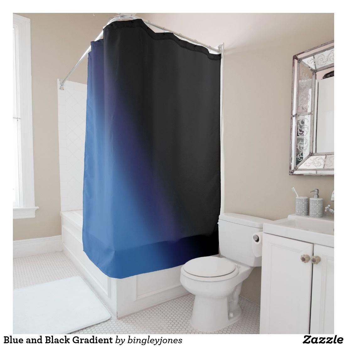 Blue And Black Gradient Shower Curtain Bathroom Homedecor