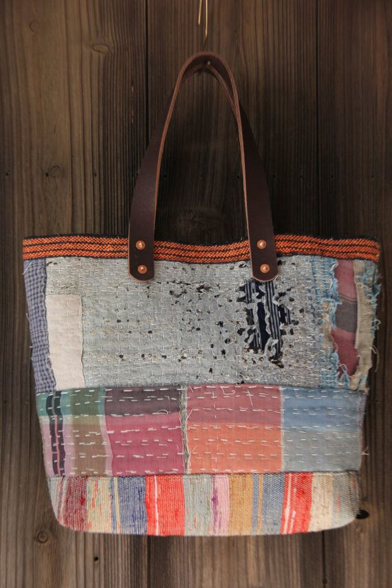 This is Japanese boro tote bag, made of vintage japanese hard ...