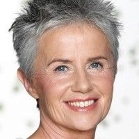 Photo of short spiky hairstyle silver hair