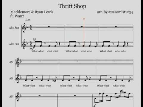 Thrift Shop Alto Sax Sheet Music  Sheet Thrift Shop Saxophone