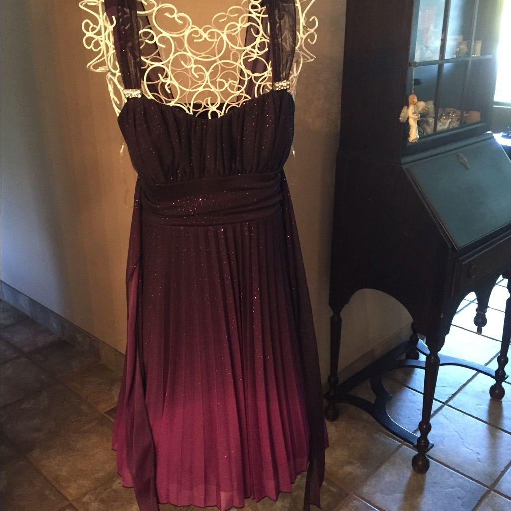 Maroon Chiffon Cocktail Dress