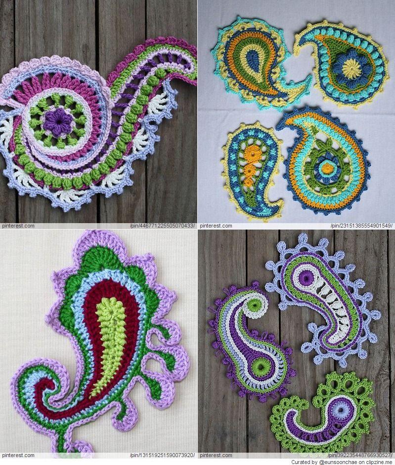 Crochet Paisley Patterns Paisley Crochet Pinterest