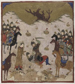 Folio from a Shahnama (Book of kings) by Firdawsi (d.1020); Shahru identifies Burzu as Rustam's grandson during the final combat between Rustam and Burzu circa 1425-1450 Delhi Sultanate period  Opaque watercolor and gold on paper H: 21.1 W: 18.0 cm  India  Purchase--Smithsonian Unrestricted Trust Funds, Smithsonian Collections Acquisition Program, and Dr. Arthur M. Sackler S1986.146