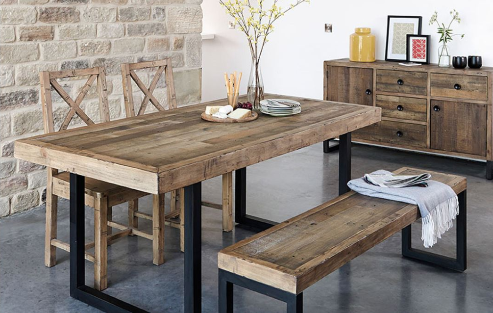 Blake Fixed Top Dining Table Reclaimed Wood Dining Table Dining Table With Bench Wood Dining Table