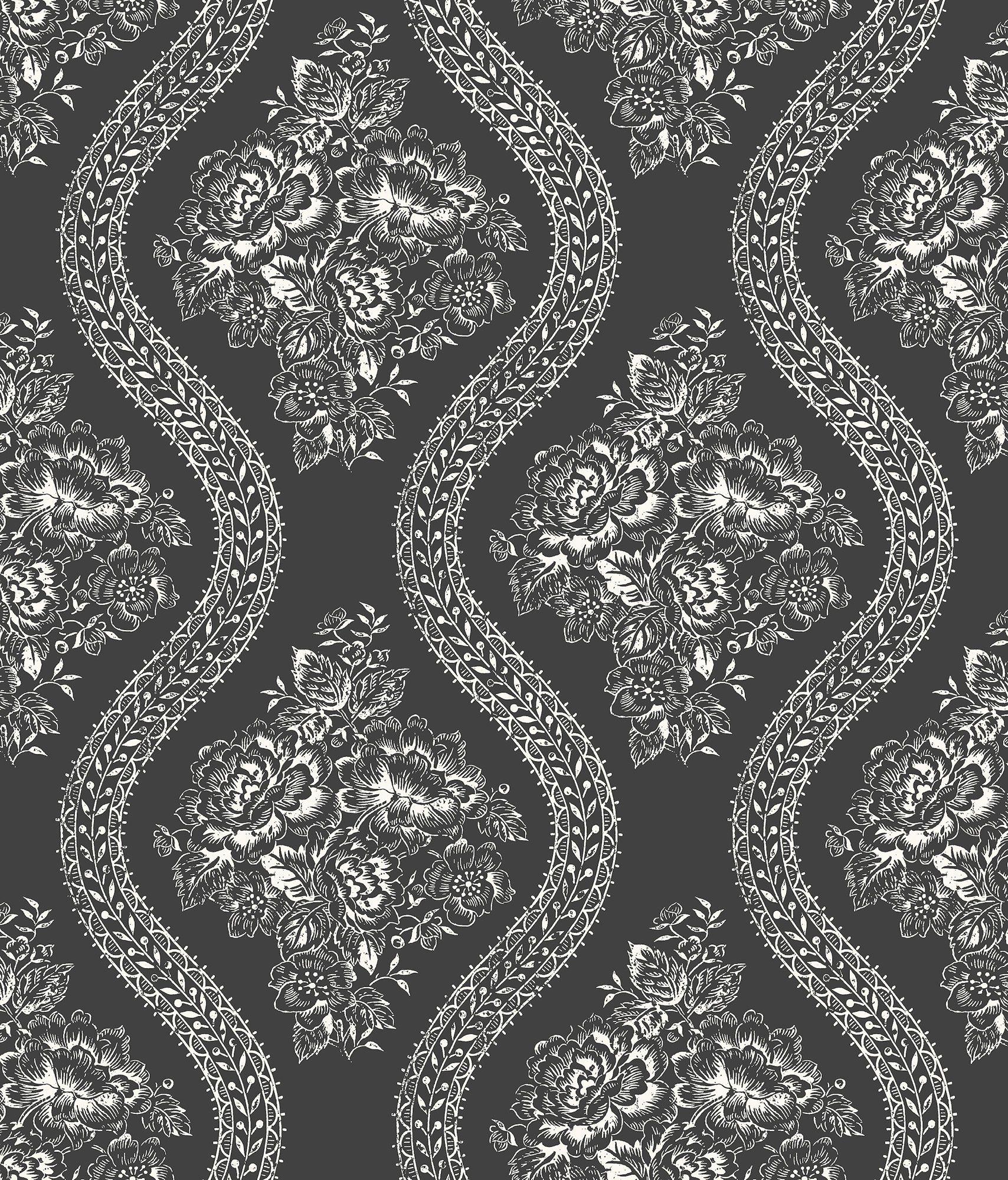 Magnolia Home Coverlet Floral Wallpaper Black & White