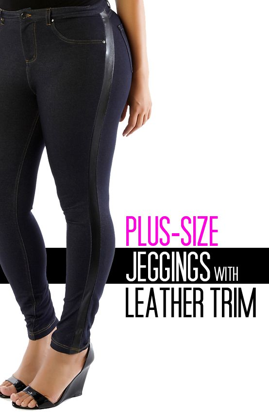 28d0355166da1 Plus-size jeggings with leather-look accents.  denim  jeggings  stretch