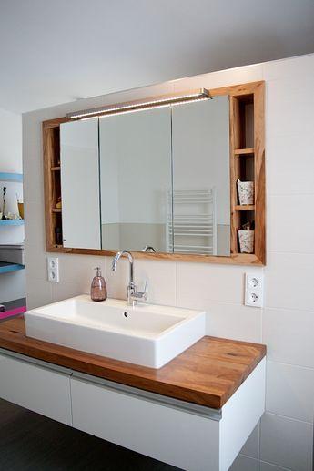 Bad-Waschtisch-Spiegelschrank-Eiche-sägerauh Bad Pinterest - badezimmer spiegelschrank mit beleuchtung günstig