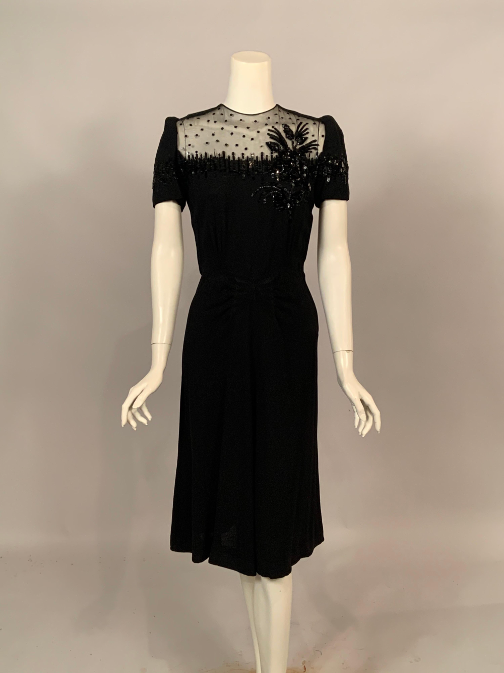1940 S Black Crepe Dress Elaborately Beaded Sheer Top Dresses Crepe Dress Chiffon Cocktail Dress [ 1333 x 1000 Pixel ]