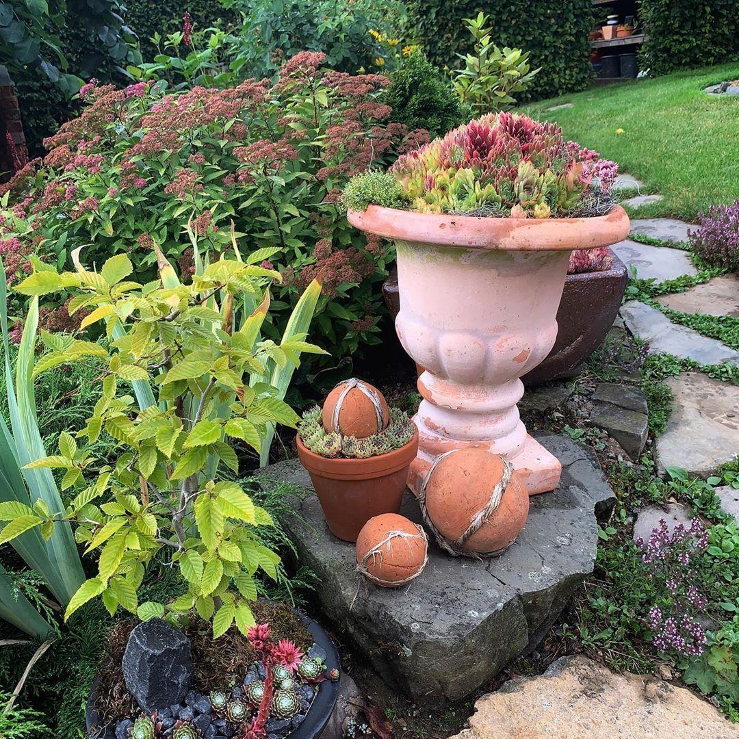 Es Hat Geregnet Und Ist Schwl Im Sauerland Garten Garden Meingarten Instagarten Instagarden Terracottakugeln Amphore Semp Garten Deko Garten Garten Am Hang