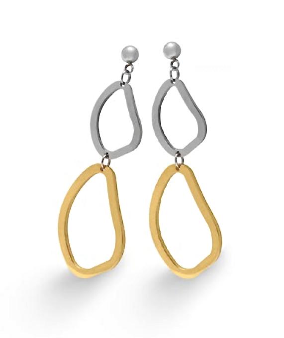 Elegante, originales y sencillos son estos #pendientes de #acero bañados en #oro, ¿no te parece?