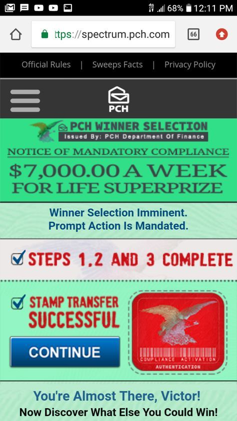 PCH big money Builder win it all Lotto winning numbers