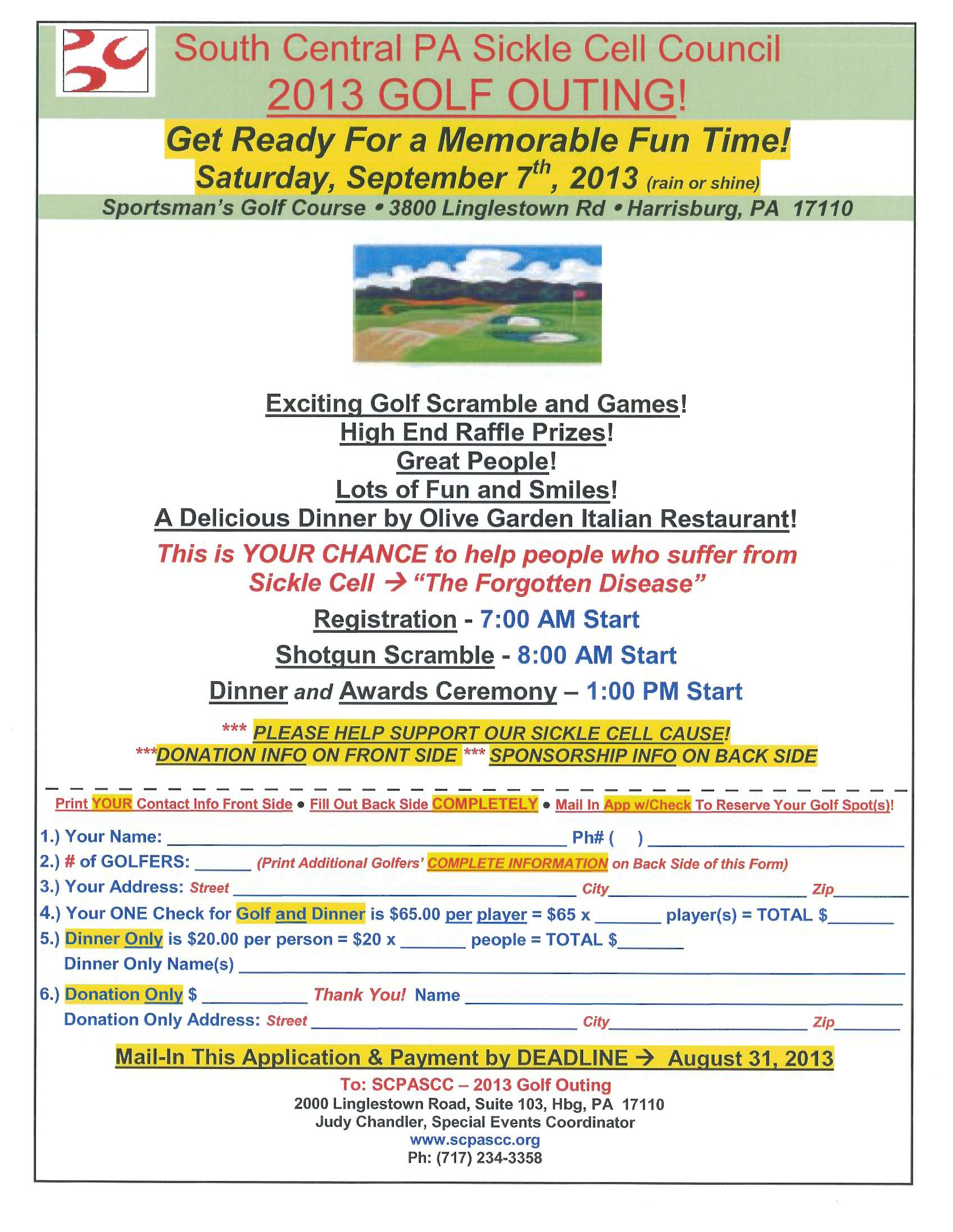 Golf Fundraiser Flyer Template  South Central Pa Sickle Cell
