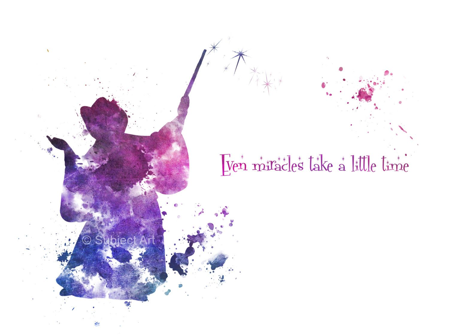Sayings About Godmothers: ART PRINT The Fairy Godmother Quote 'Even Miracles By