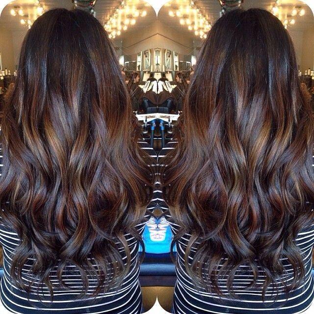 Nice Color Combo Subtle Highlights On Dark Hair Balayage Hair Dark Hair Styles Balayage Hair