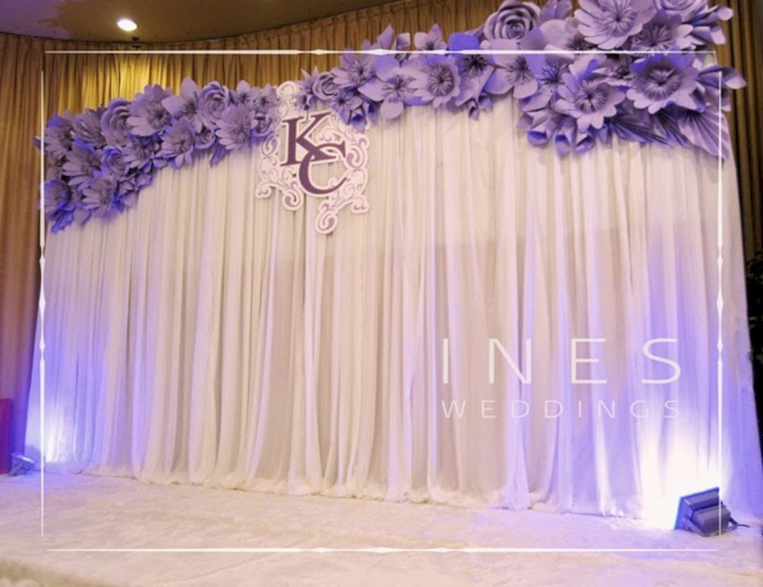 Wedding reception stage decoration images  Beautiful Paper Flower Backdrop Wedding Ideas  Pictures  Paper
