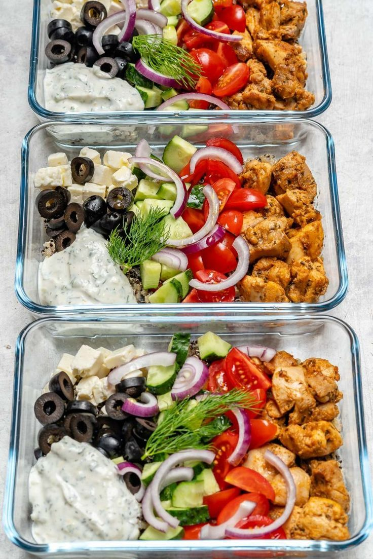 Greek Chicken Meal Prep Bowls for Clean Eating #healthyfoodprep