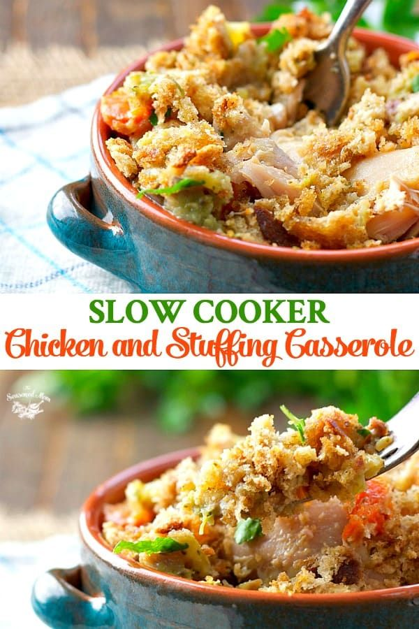 Slow Cooker Chicken and Stuffing Casserole #easyonepotmeals