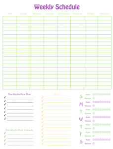 weekly schedule numbers template templets pinterest schedule