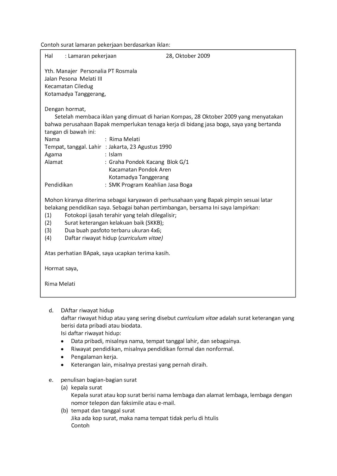 10 Format Surat Lamaran Kerja Surat, Membaca, Tanda