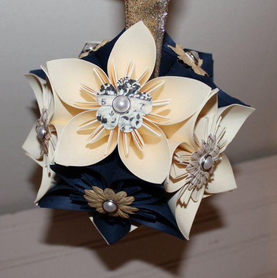 Origami flower ballwedding pomander navy by everbloomsflowers origami flower ballwedding pomander navy by everbloomsflowers 3000 mightylinksfo