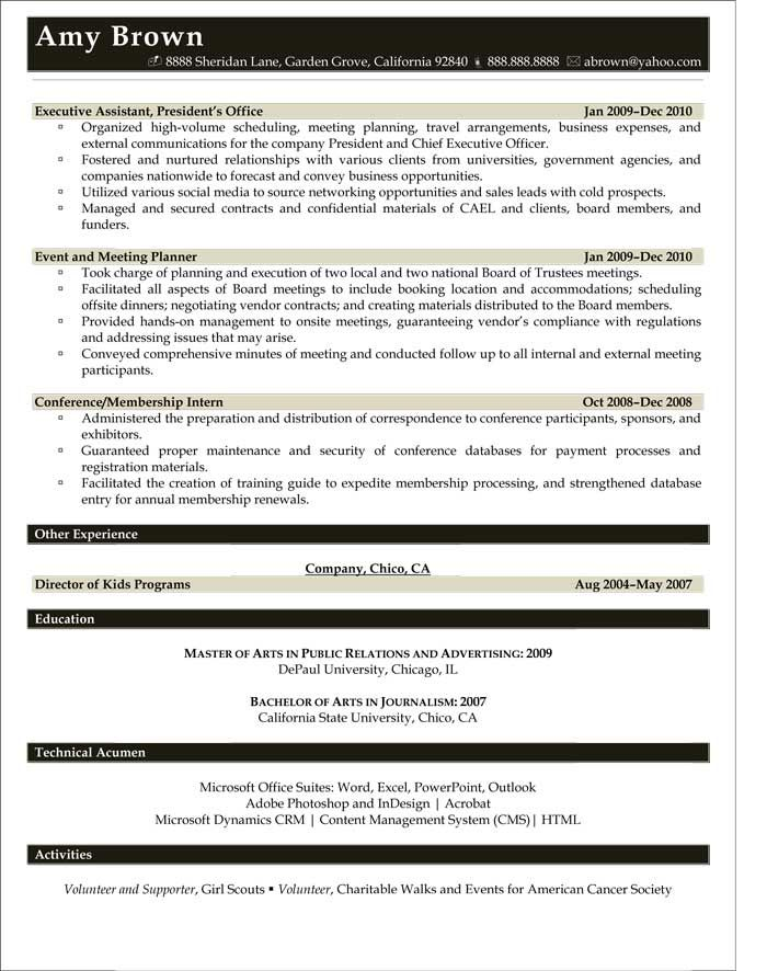 Sample Resume For Event Coordinator Event Planner Resume. Old Version Old  Version Old Version Event .