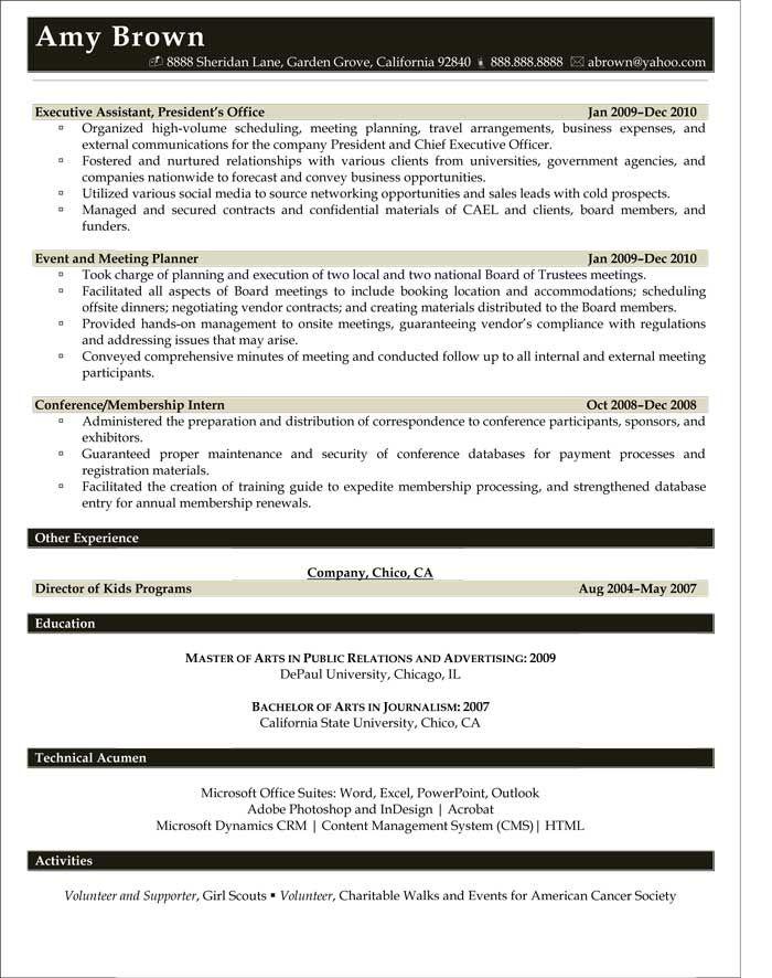 Media Resume Examples Resume Professional Writers Event Planner Resume Resume Examples Sample Resume