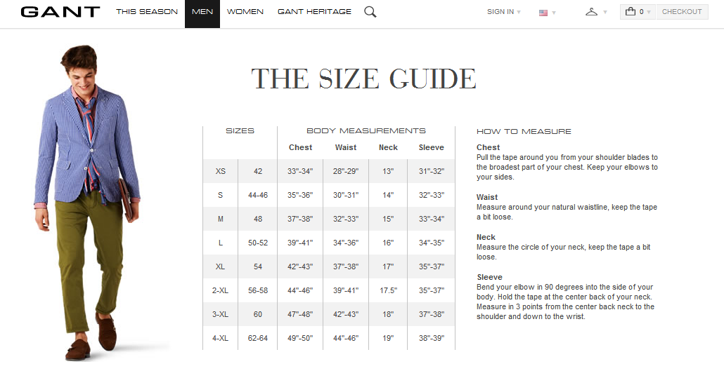 Gant Size Guide Tops