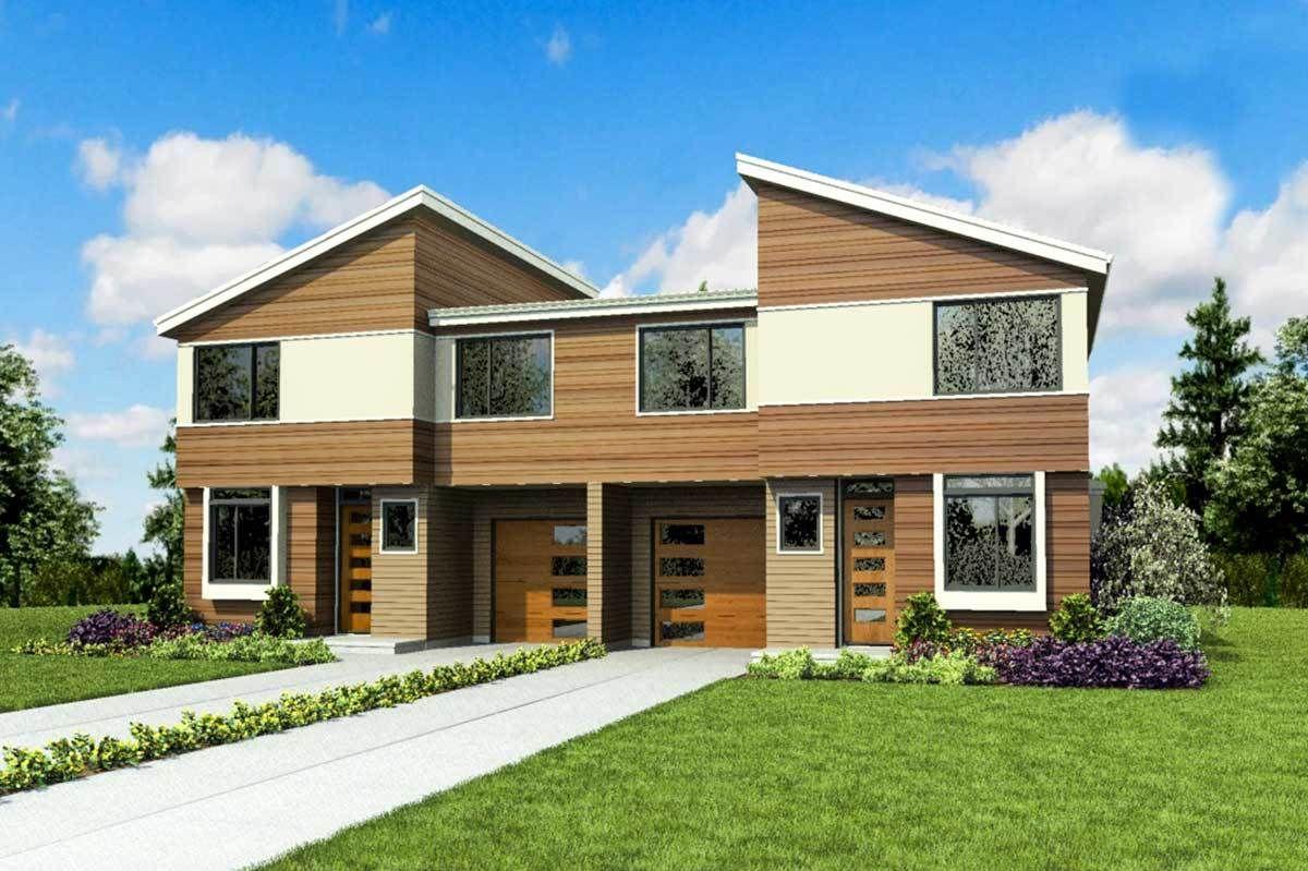 Plan 69694AM: Modern Duplex House Plan with Symmetrical 3 ...