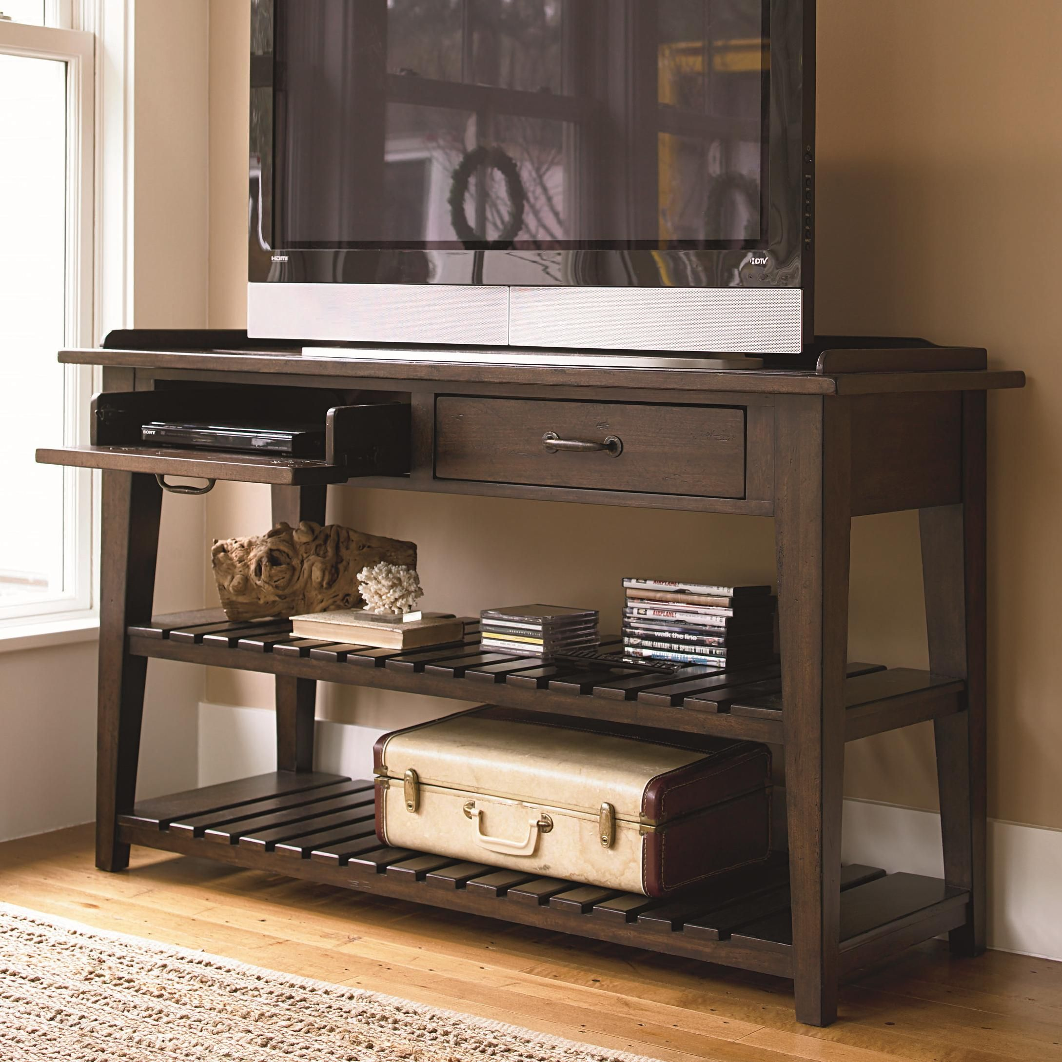 Down Home TV Console Serving Table by Paula Deen by Universal   Down Home TV Console Serving Table by Paula Deen by Universal   Reeds  Furniture. Console Table In Living Room. Home Design Ideas