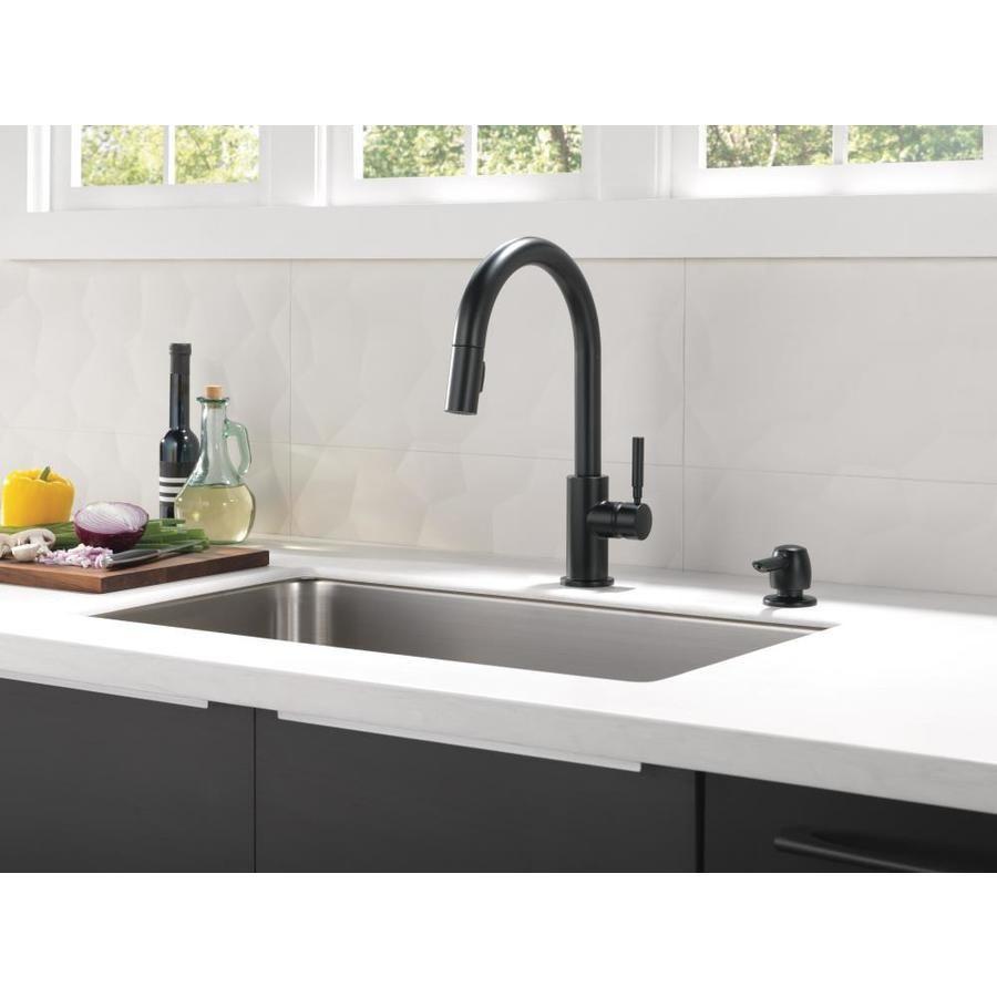 Delta Trask Matte Black 1 Handle Pull Down Kitchen Faucet At Lowes Com Kitchen Faucet Delta Kitchen Faucet Pull Out Kitchen Faucet