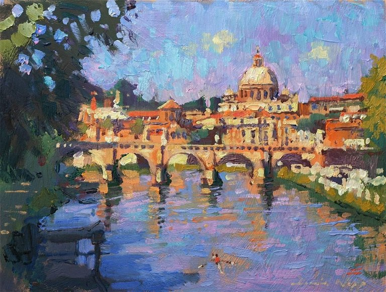 David Napp Rome Morning Light Original City Landscape Painting 2018 Painting Landscape Paintings City Landscape