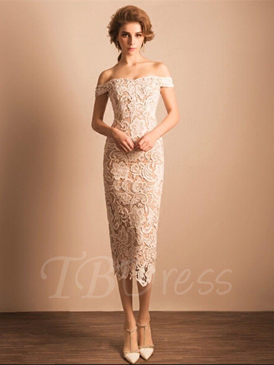 Sheath zipperup offtheshoulder lace tealength cocktail dress