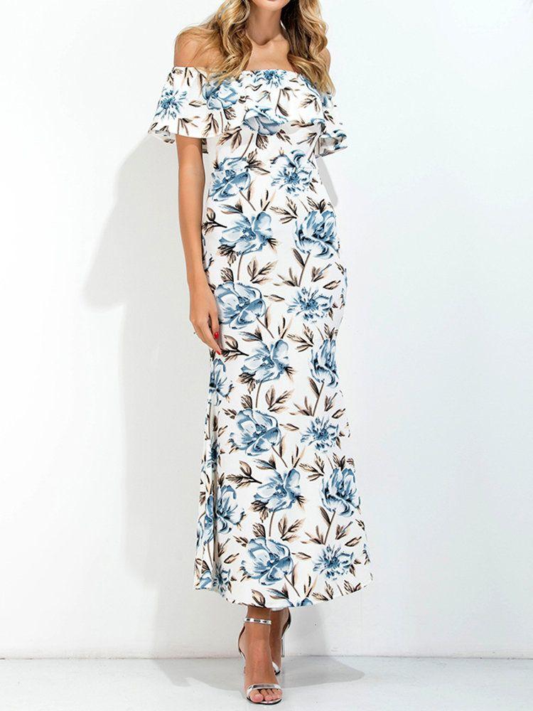 Boho Off shoulder Floral Print Back Split Maxi Dress For