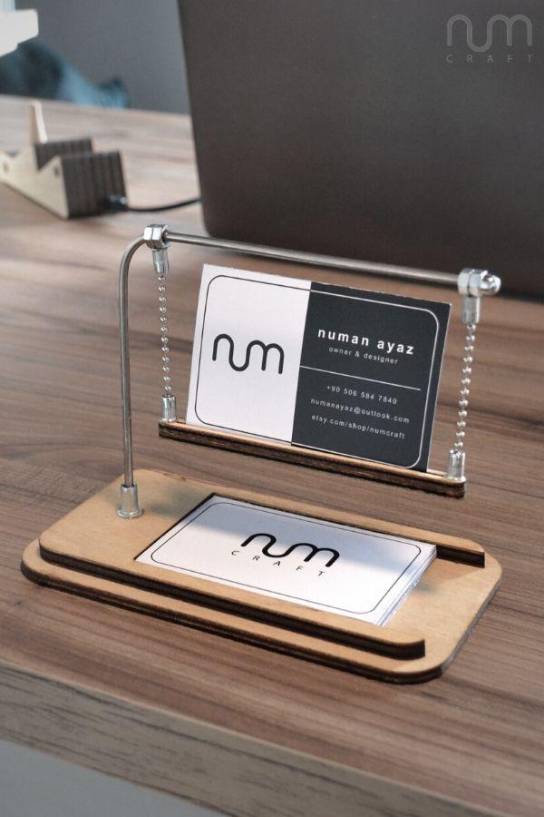 Walnut Business Card Stand Business Card Holder For Desk Etsy Business Card Holders Business Card Displays Business Card Stand