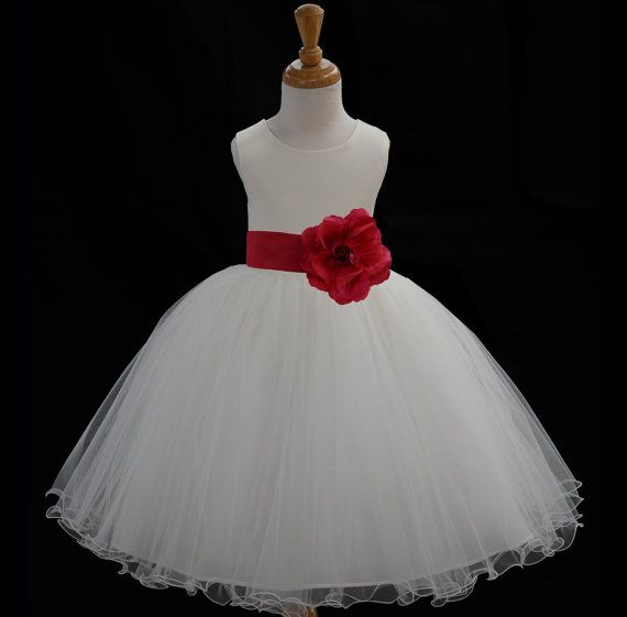 IVORY tea lenght tulle satin flower girl dress more than 20 sash and flower colors bridemaid pageant wedding elegant special occations 829cn