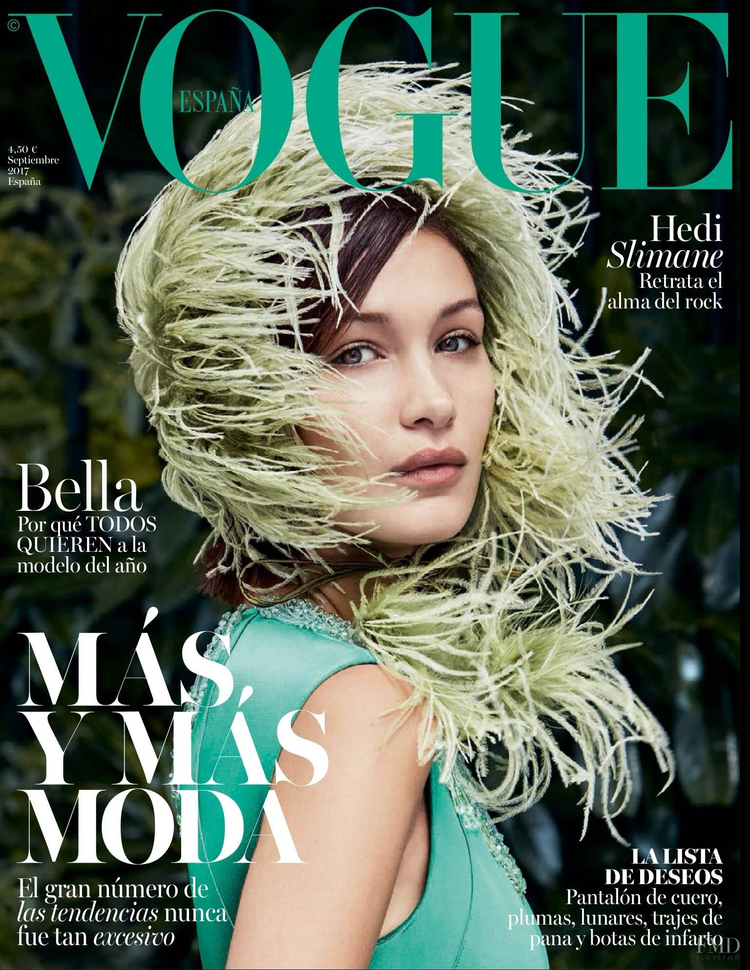 4eafc1bfd2b71 Bella Hadid featured on the Vogue Spain cover from September 2017 ...