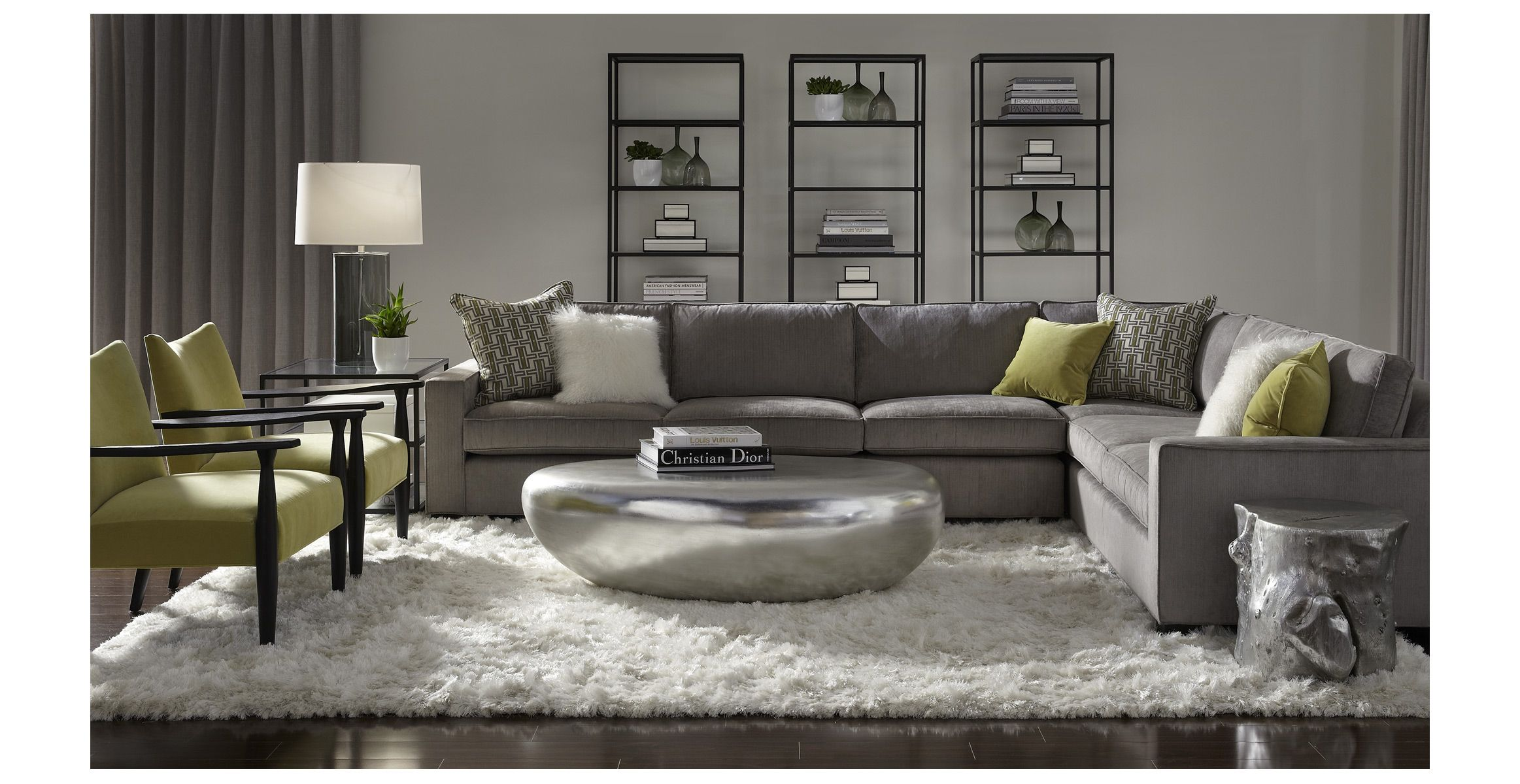 mitchell gold bob williams carson sectional slate gray and lime green make for a