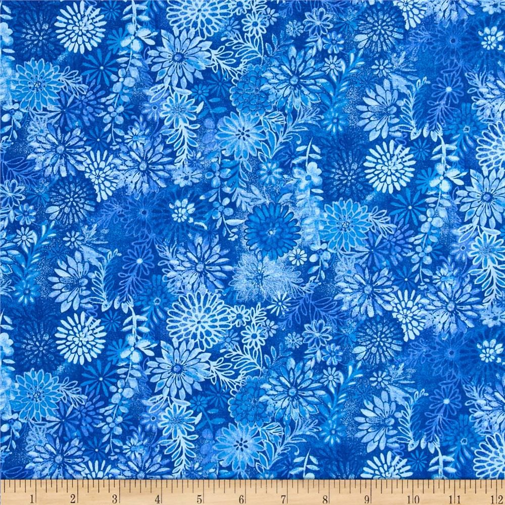 Packed Floral Batik Blue From @fabricdotcom This Fabric Is