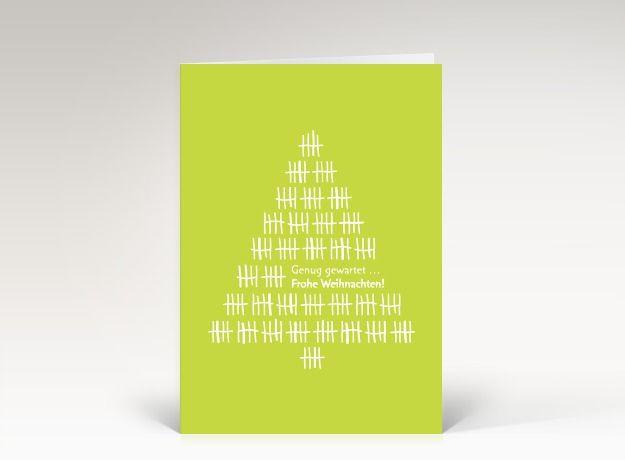 Weihnachtskarte Weihnachtsbaum Strichliste weiß auf grün Vorderseite