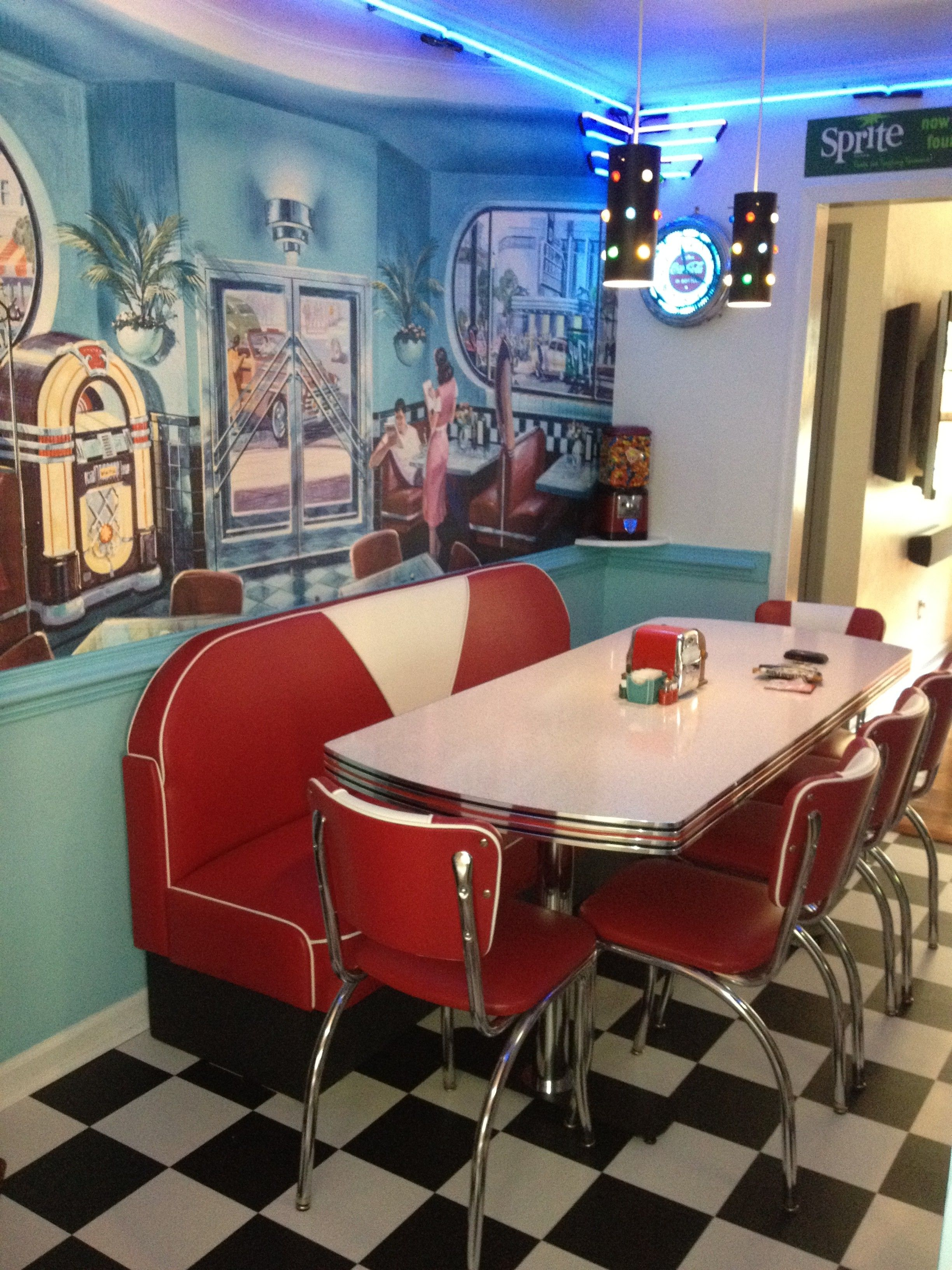 Kitchen, Charming Red Back Seat Kitchen Booth With Single White Tops Coffee  Tables Stainless Steel Frames On Black White Tiles Flooring And . Retro  Diner ...