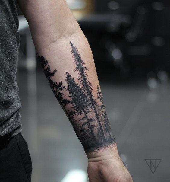 e81e1f80b5ea5 Forest cuff.. | Tattoo's | Forearm tattoo design, Cool forearm ...